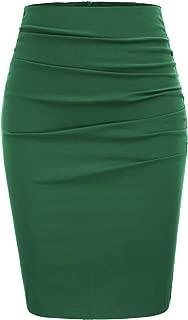 Womens Elegant Ruched Knee Length Slim Fit Business Skirt
