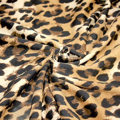 Leopard Print Fabirc by The Yard 100% Cotton French Terry Knit Fabric 8.5 oz for...