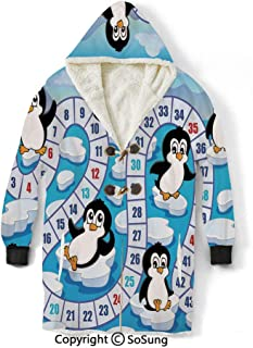 Board Game Blanket Sweatshirt,Cute Funny Penguins Antarctica Aquatic Environment Iceberg Ocean Happy Animals Wearable Sherpa Hoodie,Warm,Soft,Cozy,XL,for Adults Men Women Teens Friends,Multicolor