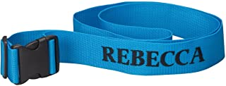 Personalized Luggage Strap – Adjustable Suitcase Belt Travel Tag Customized with Name – Blue