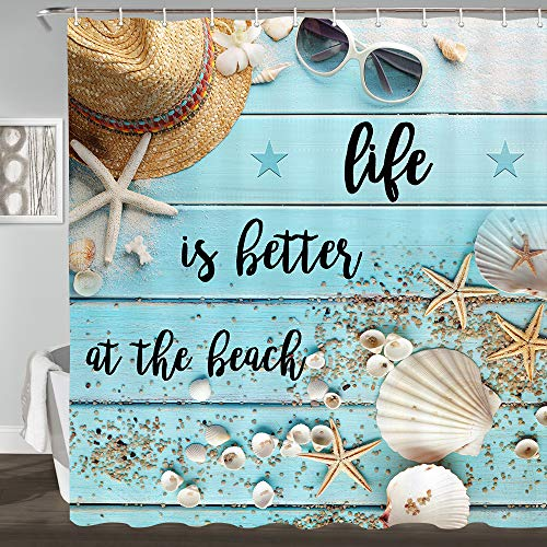 Beach Teal Rustic Shower Curtain, Life is Better at The Beach on Blue Wooden Seashell and Starfish on The Coastal Shower Curtain Set, Summer Waterproof Polyester Fabric Bathroom Curtain, 69x70inches