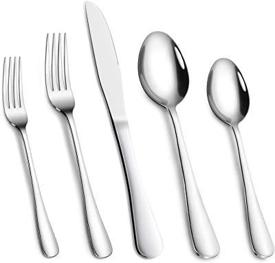 Cibeat Silverware Set, 30 Piece Flatware Set, Stainless Steel Home Kitchen Hotel Restaurant Tableware Cutlery Set, Service for 6, Include Knife/Fork/Spoon, Mirror Polished, Dishwasher Safe