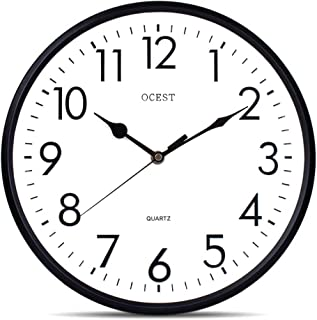 OCEST 13 Inch Silent Quartz Decorative Wall Clock Non-Ticking Classic Indoor Outdoor Clock Large Display Battery Operated 3D Round Easy to Read Home Kitchen Living Room Bathroom Office School Clock