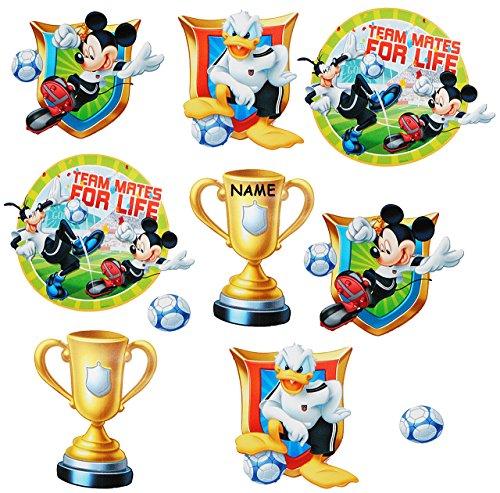 alles-meine.de GmbH 10 TLG. Set _ Fensterbilder -  Mickey Mouse - Fußball  - incl. Name - Sticker Fenstersticker Aufkleber - selbstklebend + wiederverwendbar - Fensterbild / z...