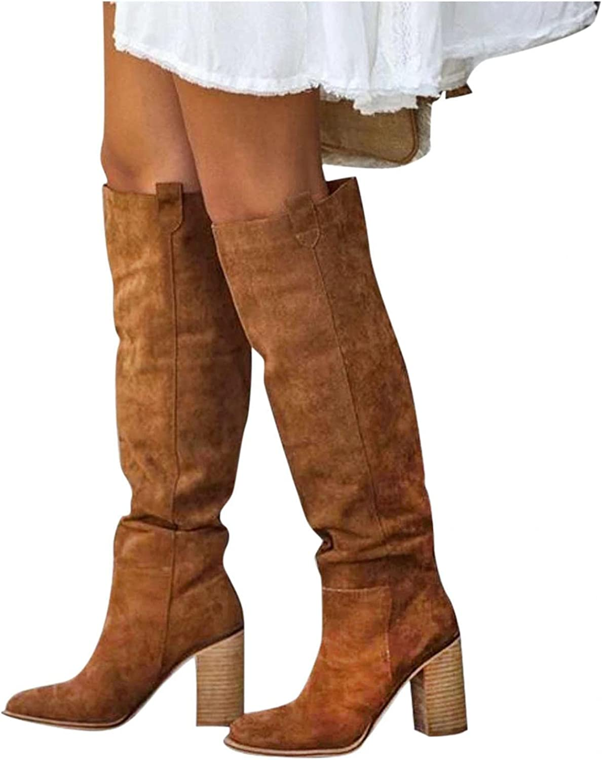 NIMIZIA Knee High Boots for Women Womens Casual Solid Warm Zipper Thick Heel Long Boots Knee High Boots for Women