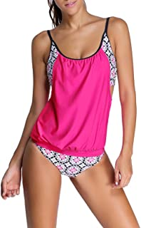 Best Womens Stripes Lined Up Double Up Tankini Top Sets Swimwear Review