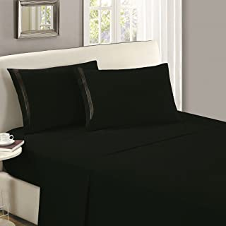 Mellanni Flat Sheet Queen Black - Brushed Microfiber 1800 Bedding Top Sheet - Wrinkle, Fade, Stain Resistant - Ultra Soft - Hypoallergenic (Queen, Black)