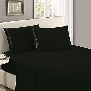 Mellanni Flat Sheet King Black - Brushed Microfiber 1800 Bedding Top Sheet - Wrinkle, Fade, Stain Resistant - Ultra Soft - Hypoallergenic (King, Black)