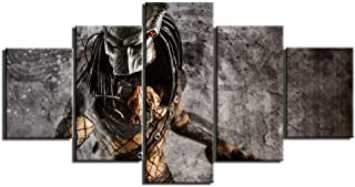 Canvas Paintings Printing Canvas Wall Art 5 Panels Posters Painting Alien vs. Predator Pictures for Bedroom Home Decor Art...