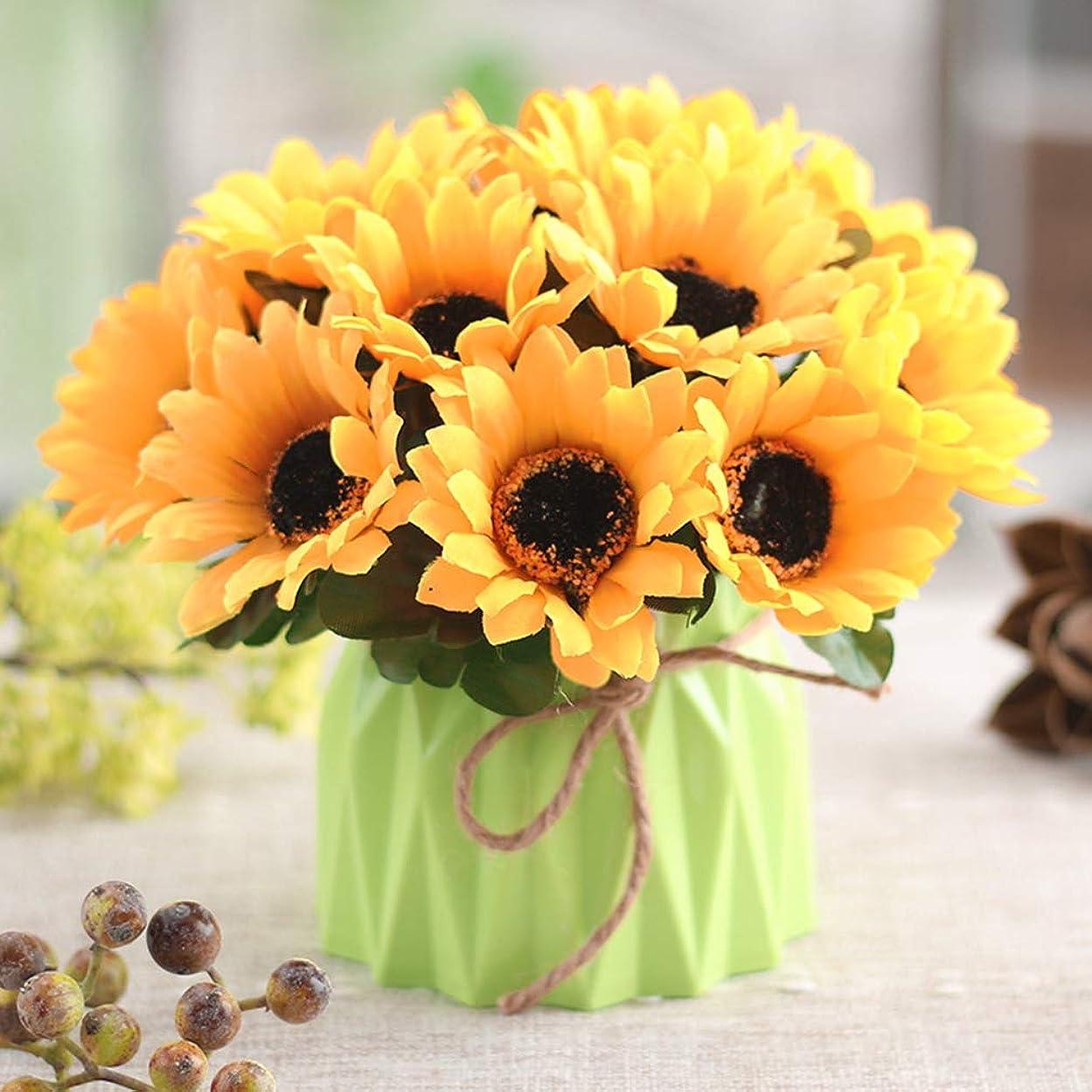物語絶滅させる病気の造花 向日葵 花瓶付き 観葉植物 本物にそっくり 美しい プレゼント お祝いに 結婚式 リビング ベランダ 玄関 喫茶店 置物 枯れない花 お部屋が明るくなる イエロー
