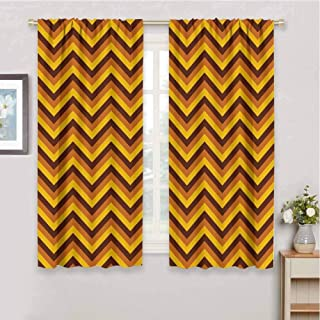 Yellow Chevron Thermal Soundproof Window Drapes Chevron Pattern with Yellow and Brown Lines Classical Retro Solid Blackout Drapes for Living Room W85 x L72 Inch Brown Light Brown Marigold