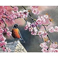DIYデジタル絵画番号パッケージピンク桜カササギ油絵壁画キットぬりえ壁アート画像ギフトフレームレス40×50センチ