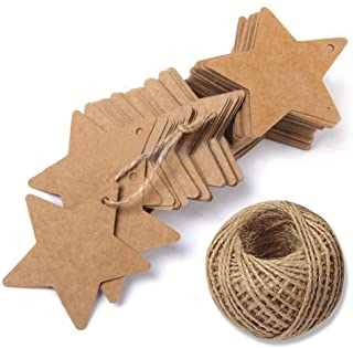 Star Gift Tags with String Kraft Paper Blank Gift Wrap Tags 100 Pcs Wedding Crafts Tags With 100 Feet Jute Twine