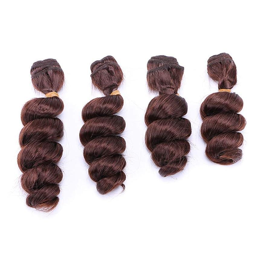 外出ガイダンス不承認Yrattary ブラジルの髪織りルースウェーブヘアスタイリング3バンドルヘアエクステンション - 4#ブラウン(16