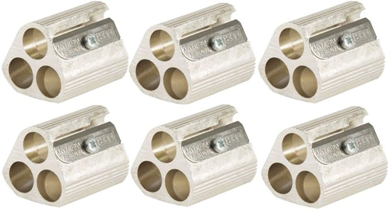 Alvin 9833 Magnesium Triple-Hole Sharpeners (Pack of 6), Unique Precision-engineered Design Provides a Choice of Exposed Lead Length for Maximum Drawing Accuracy and Control