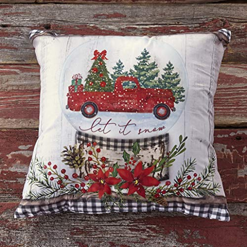 The Lakeside Collection Christmas Throw Pillow with Winter Holiday Print - Vintage Truck - Let it Snow