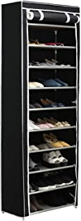 Home-Like 10-Tier Shoe Rack with Dustproof Cover 30 Pair Shoe Organizer Shoe Rack Tower Zippered Storage Shoe Cabinet in Black Ideal for Hallway Corridor L24.02''xW12.2''xH67.72'' (Black)