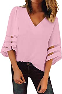 TINGZI Women'S Tees V Neck Mesh Panel Blouse 3/4 Bell Sleeve Casual Loose Top Shirt Loose Fit Comfy Tunic