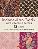 Indonesian Batik Gift Wrapping Papers: 12 Sheets of 18 x 24 inch Wrapping Paper