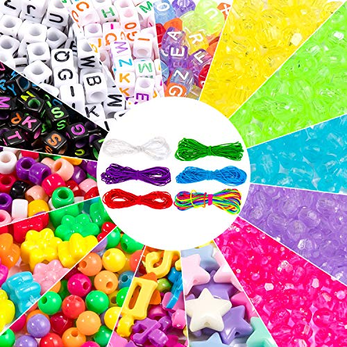 Whaline 1300Pcs Charms & Beads Kit, Multicolor Letter Alphabet ABC Beads Pony Beads Flower Star Beads with 6 Roll Colored String Cord for Jewelry Making DIY Craft Bracelet Necklace Handmade Gift