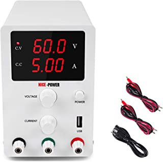 DC Power Supply Variable 3 Digital LED Display Adjustable Regulated Switching Power Supply Digital with Leads Power Cord (...