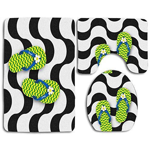 Alfombrillas de baño Chanclas aisladas en la playa de Copacabana Acera Alfombra de contorno de mosaico Tapa de inodoro en forma de U, antideslizante, lavable a máquina, juego de alfombras de 3 piezas