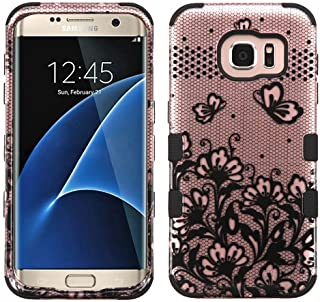 Galaxy S7 Edge Case, Rock Me Wireless (TM) 2 items Bundle - 24K Gold Plating Sticker and Triple Layers Hybrid Protector Case Cover for Samsung Galaxy S7 Edge. (Lace Flowers / Rose Gold)