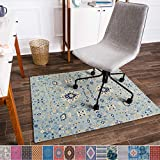 Anji Mountain Chair Mat Rug'd Collection, 1/4' Thick - For Low Pile Carpets & Hard Surfaces, Tabriz , Light Blue Tribal Floral