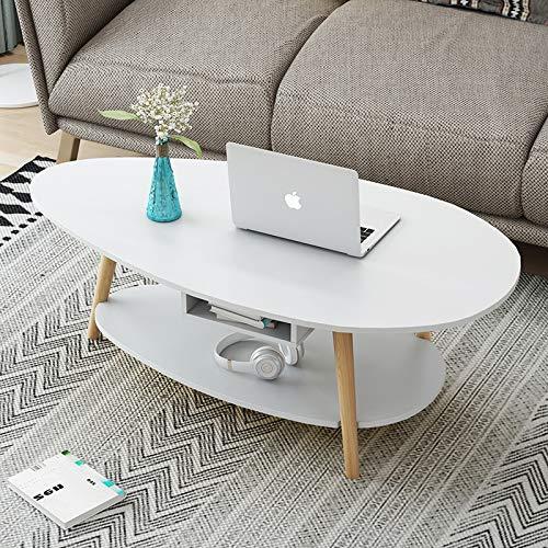 Xiang-Coffee Table Nórdico Mesa de Centro de Dos Pisos, Simple, pequeño, pequeño, apartamento, Sala de Estar, sofá, Lado, Algunas mesas económicas Simples (Color : White, Size : 90 * 48 * 42cm)
