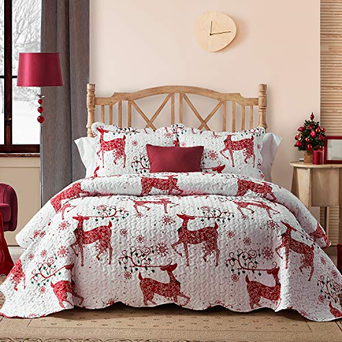 Hansleep Christmas Quilt Set with Reindeer Printed Pattern, Comforter Bedding Cover Lightweight Bedspread Bed Decor Coverlet Set for All Season (Christmas Red Reindeer, Full/Queen)