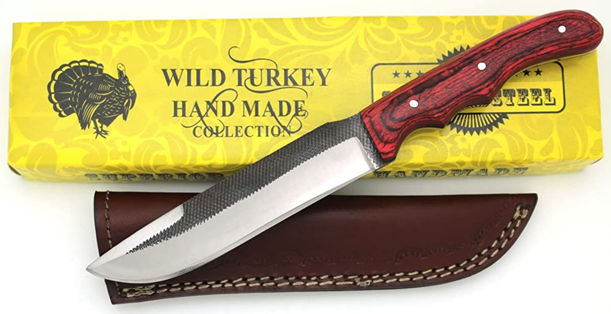 Wild Turkey Handmade Full Tang Real File Hunting Knife w/Leather Sheath Outdoors Hunting Camping Fishing Outdoors