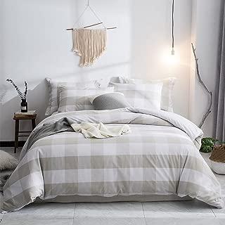 Merryfeel Duvet Cover Set,100% Cotton Yarn Dyed Plaid Check Duvet Cover Set - Full/Queen Linen