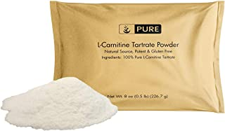 100% Pure L-Carnitine Tartrate Powder, 8 oz, 900 mg/Serving, Made in USA, Vegetarian, Gluten-Free, Increase Energy, Eco-Friendly Packaging, Undiluted L-Carnitine Tartrate with No Additives