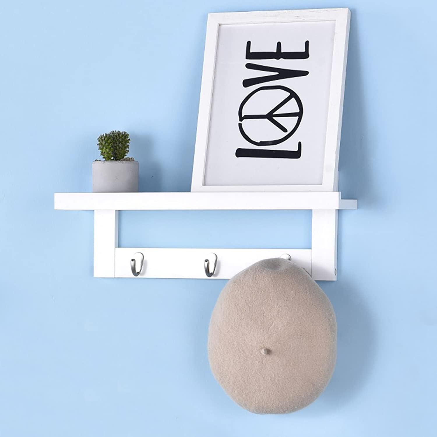 LFF- Wall Coat Rack Solid Wood Simple Modern Wall-Mounted Clothes Hanger Simple Bedroom Bag Rack Entrance Shelf (color   White, Size   A)