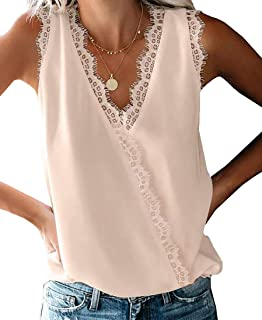 desolateness Womens T Shirts Wrap V Neck Fashion Loose Sleeveless Lace Hem Stitching Shirt Tops