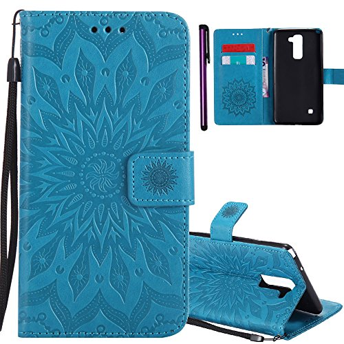 ISADENSER LG LS775 Case LG G Stylo 2 Case [Wallet Stand] with Shockproof Credit Card Holder Flip Magnetic Closure Protection New PU Leather Wallet Case Cover for LG Stylo 2 Plus Blue Sunflower