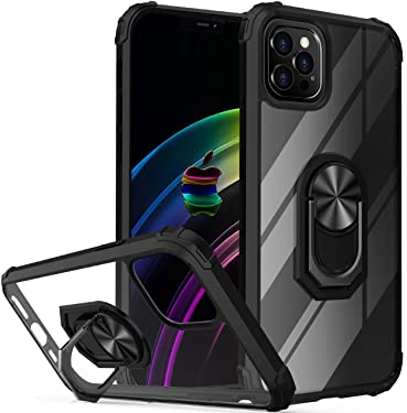 """Probeetle Compatible with iPhone 12 Pro Max Crystal-Clear Phone Case with Kickstand and Car Mount Holder iPhone 12 Pro Max Case with Anti-Fall Corner for iPhone 12 Pro Max 5G (6.7"""") 2020 Phone(Black)"""