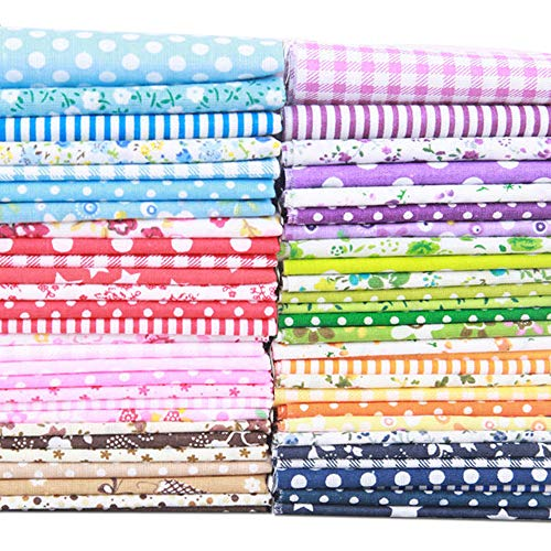 Ealirie Baumwolltuch Baumwoll Patchwork Stoffe Paket DIY Stoff Mix für Vorhänge, Aufnäher, Taschen, Kissen, Rucksäcke und Dekorationen 56Stück(25 x 25 cm)
