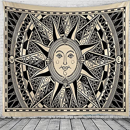 KHKJ Sun and Moon tapestry Indian Mandala Hippie Macrame Tapestry Wall Hanging Boho decor Psychedelic Witchcraft Tapestry A6 200x180cm