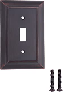 AmazonBasics Single Toggle Light Switch Outlet Wall Plate, Oil Rubbed Bronze, 3-Pack