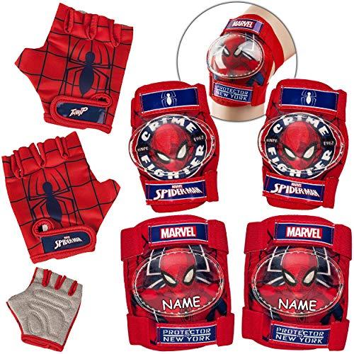 alles-meine.de GmbH 6 TLG. Set - Knieschoner + Ellenbogenschützer + Fahrradhandschuhe - Spider-Man - inkl. Name - für Circa 4 bis 12 Jahre - Kinder - Schutzausrüstung - Gelenksch..