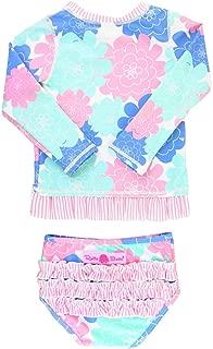 RuffleButts Little Girls Rash Guard 2-Piece Swimsuit Set - Long Sleeve Bikini with UPF 50+ Sun Protection