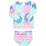 RuffleButts Little Girls Rash Guard 2-Piece Swimsuit Set - Long Sleeve Bikini with UPF 50+ Sun...