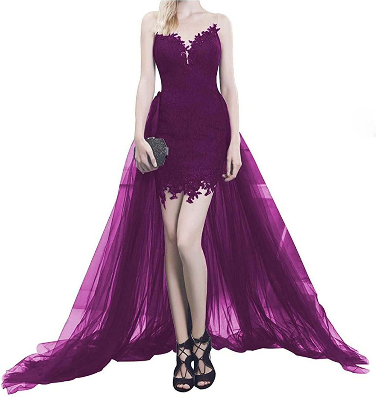 Honeydress Women's Invisibility Straps Sexy Lace Short Prom Dress with Train