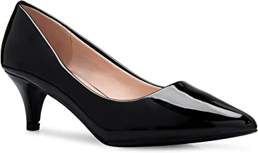 OLIVIA K Women's Classic D'Orsay Closed Toe Kitten Heel Pump - Casual, Comfort