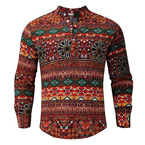 Berimaterry Camisetas Hombre Originales con estampardo de Paisley Camisa Cuello Mao Hombre Vintage Camisetas Manga Larga Hombre Baratos Camisetas Personalizadas Funky Ropa Hombre de otoño Casual