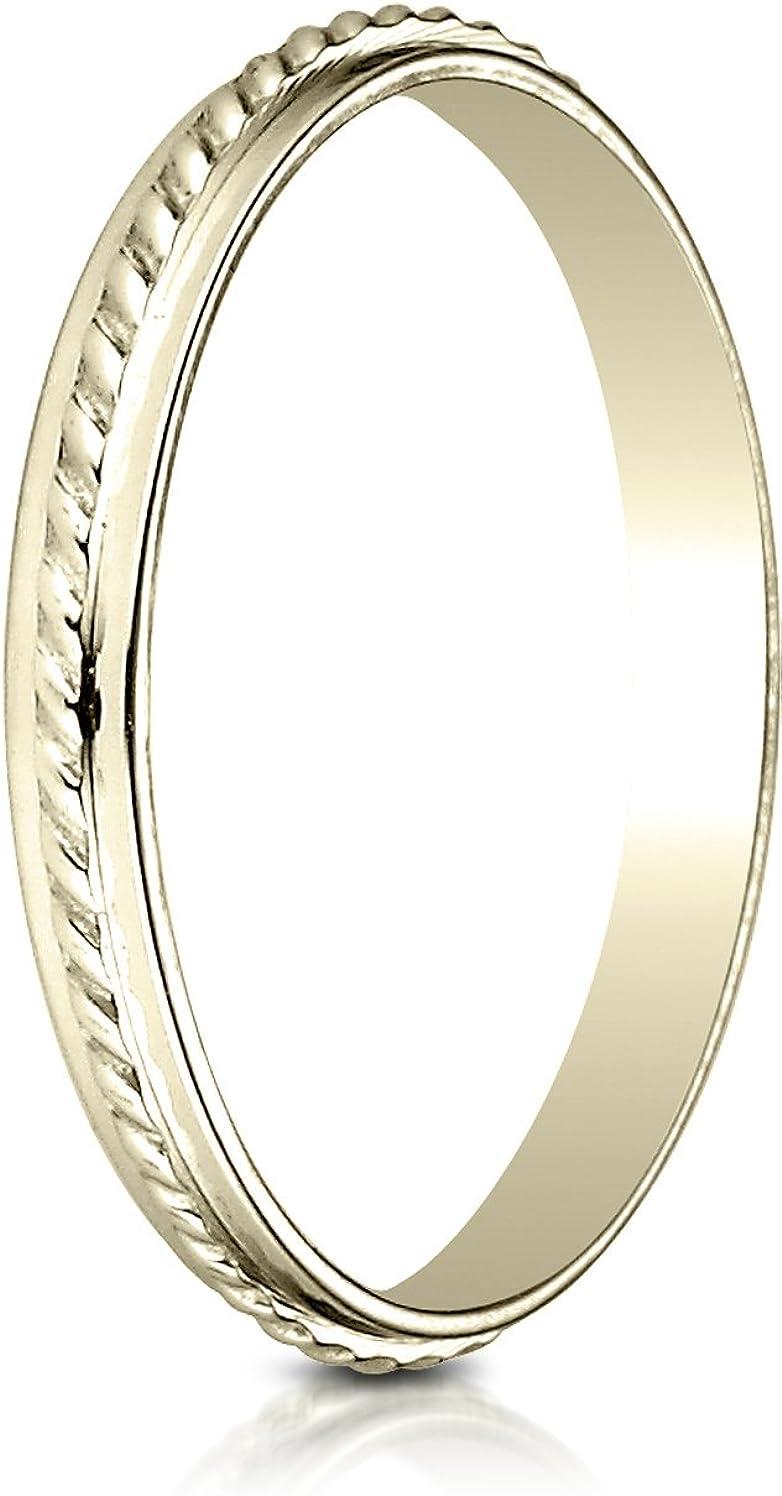 Benchmark 14K Yellow Gold 2mm High Polished Rope Center Design Wedding Band Ring (Sizes 4-15)