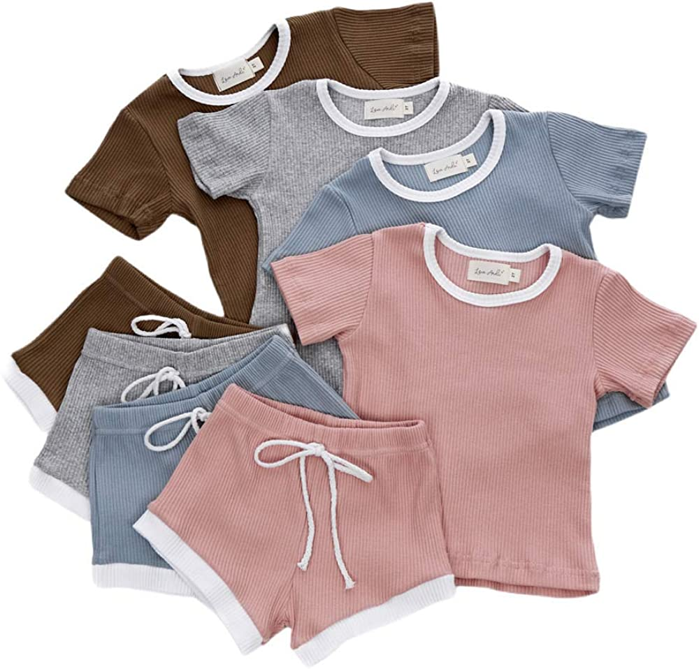Toddler Baby Girl Boy Clothes Short Sleeve Tops T-Shirt + Shorts Pants Solid Color Two Piece Outfit Set