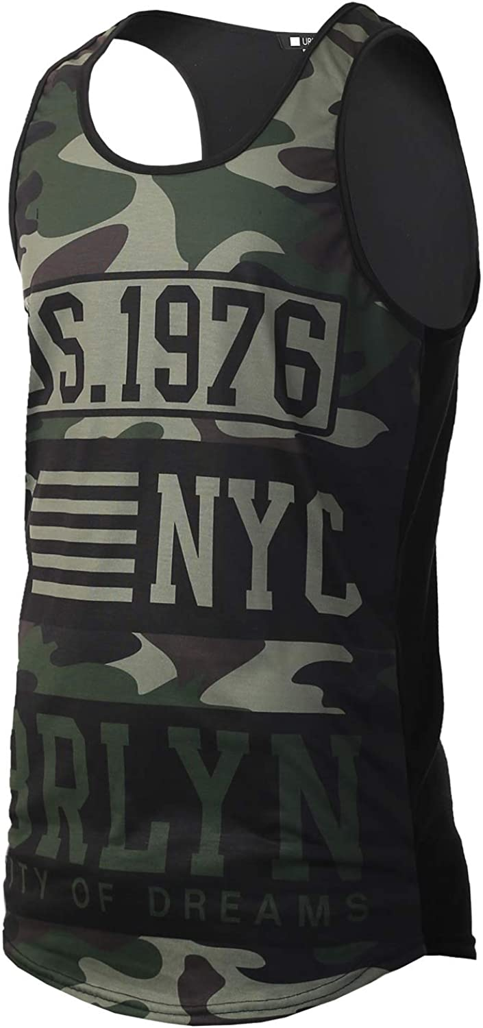 URBANTOPS Mens Hipster Hip Hop Tops Cheap mail order shopping Sale SALE% OFF Graphic Tank Print Varsity