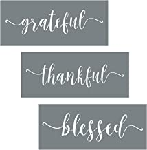 Grateful Thankful Blessed Stencil Set – 3 Reusable Sign Stencils for Painting on..